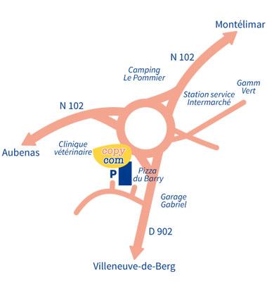 plan d'accès agence copy com à Villeneuve de Berg en Ardèche